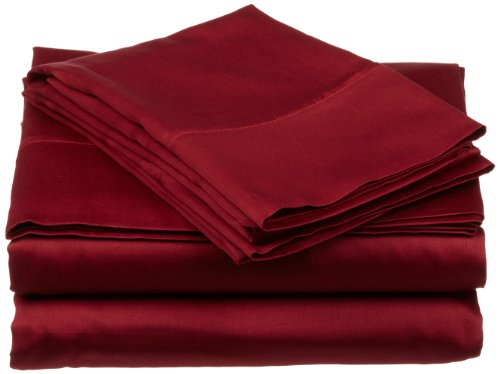 Impressions Genuine Egyptian Cotton 300 Thread Count Queen Waterbed 4-Piece Sheet Set Solid, Burgundy back-791702