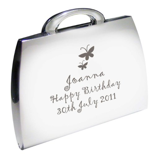 Personalised Silver Finish Butterfly Handbag Engraved Compact Mirror Great Gift Idea for Mum Wife Sister Aunty Friends Anniversary Birthday Wedding Christmas or Mothers Day Gifts