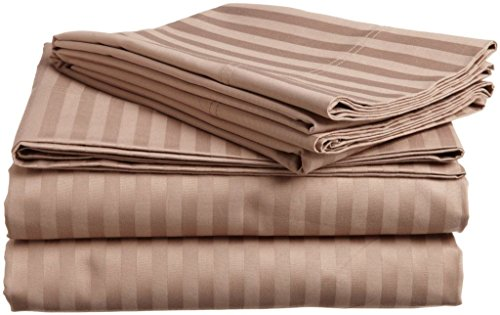 6 PCs Set (1X Duvet Cover+1XFiited Sheet[ +10 Inch ]+4 Pillow Case) Taupe Stripe King Size Zipper Closer Egyptian Cotton 650 TC