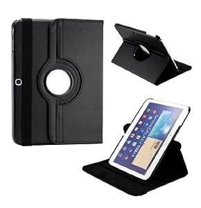 Housse/etui rotatif effet grainé haute qualité pour Samsung Galaxy Tab 3 10.1'' P5200/P5210 , Noir)