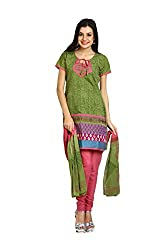 Parchayee Women's Green Printed Art Silk Dress Material