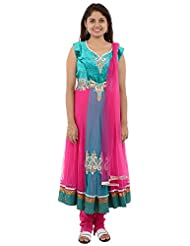 Seasons Shopping Mall Women's Net Anarakali Suit (ST07PNK, Dark Pink, XL )