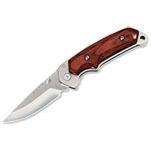 Buck 277 Folding Alpha Hunter, Rosewood Handle, Liner Lock Folding Knife with Leather Sheath