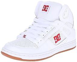 DC Women\'s Rebound High Skate Shoe, White/Red, 6.5 M US