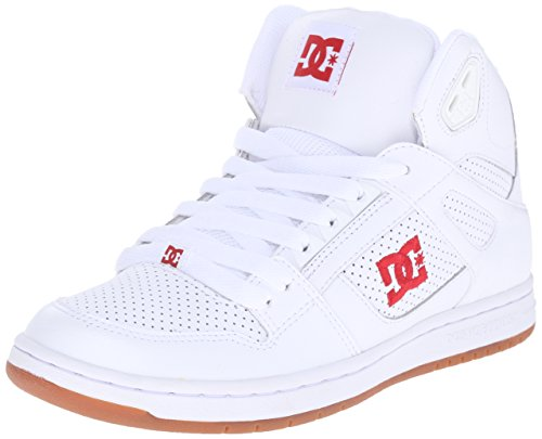 DC Women's Rebound High Skate Shoe, White/Red, 7 M US
