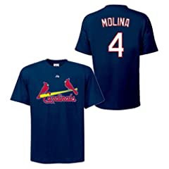 Yadier Molina St Louis Cardinals Navy Player T-Shirt by Majestic by Majestic