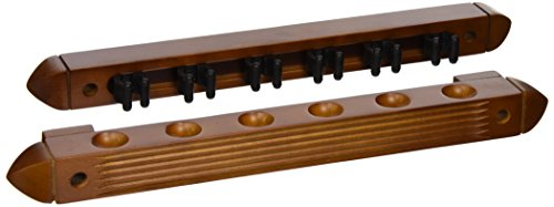 HJ Scott CR1022 6-Cue Wall Mount Billiard Cue Rack with Cue Clips, OW Mahogany (Pool Cue Rack Wall compare prices)