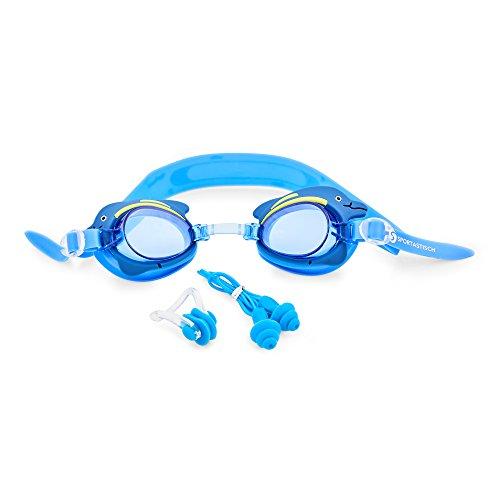 """Premium Kinder Schwimmbrille """"Swim Buddy Dolphin"""" von Sportastisch :: verstellbare Nasenbrücke für 100% perfekte Passform :: Anti-Beschlag-Schutz für kristallklare Sicht :: verspieltes Design, das Freude auf Schwimmen und Wasser macht :: INKLUSIVE Nasenklammer & Ohrstöpsel :: geprüfte Markenqualität :: ideale Schwimmbrille für Kinder bis 10 Jahre :: leicht verstellbarer Verschluss :: kostenloser Bonus: E-Book """"Schwimmtraining"""" :: inklusive 3 Jahren Sportastisch Produktgarantie"""