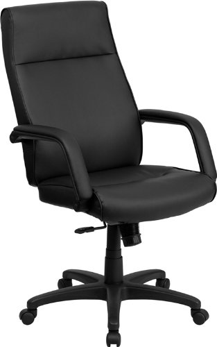 High Back Black Leather Executive Swivel Office Chair with Memory Foam Padding (Office Chair Padding compare prices)
