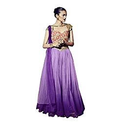 Aagaman Fabulous Purple Colored Embroidered Silk Net Gown 206 M
