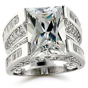 Rhodium-Plated Brass Ring with Square Centerpiece Clear CZ