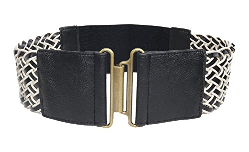 """Modeway® Lady 3"""" Elastic Stretch Woven Leather Belts Braided Belt, Knitted Wide Belt Decoration For Women (L-XL, Black)q002-2"""