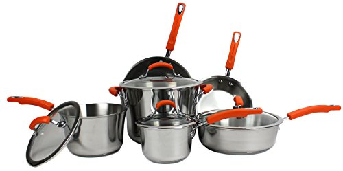 Rachael Ray Stainless Steel II 10-Piece Cookware Set, Orange (Pot Set Rachel Ray compare prices)
