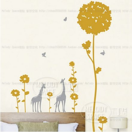 Cartoon Giraffe Living Room Bedroom Wall Stickers front-583960