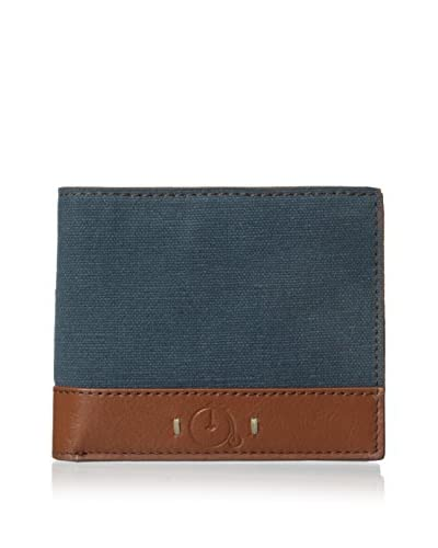 Maker & Company Men's Washed Canvas Bifold Wallet, Tan/Navy