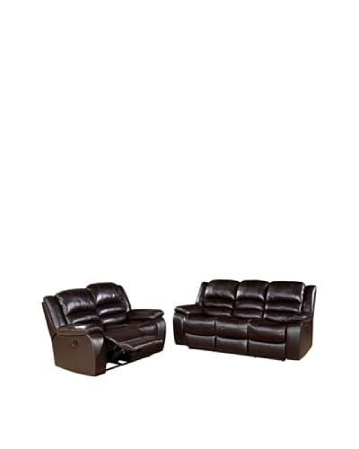 Abbyson Living Levari Reclining Leather Sofa & Loveseat, Dark Truffle