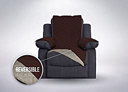 SOFA SHIELD Reversible Furniture Protector, Features Elastic Strap (Recliner: Chocolate/Beige)