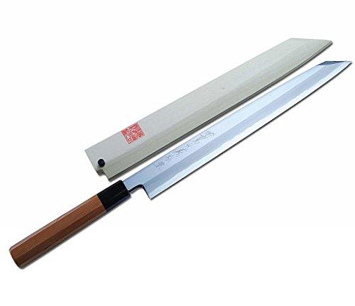 """Yoshihiro Blue Steel Aonamiuchi Yanagi Kiritsuke Japanese Sashimi Sushi Knife 10.5"""" Yew Handle"""