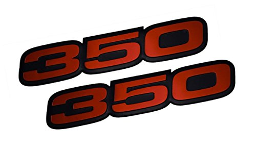 2x (pair/set) VMS Racing 350 RED on BLACK Highly Polished Aluminum EMBLEMS (85 Chevy Truck Hood compare prices)