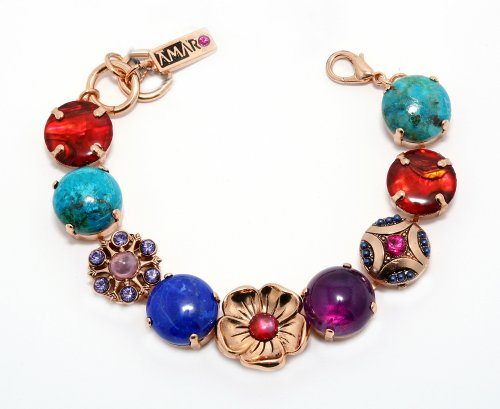 Stunning 24 Rose Gold Plated Bracelet from 'Indigo' Collection Created by Amaro Jewelry Studio Crafted with Flower Details, Chrysocolla, Lapis Lazuli, Abalone, Turquoise, Amethyst and Swarovski Crystals