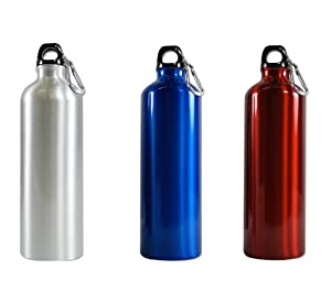 Random Color - Aluminum Water Bottle 25oz (750ml) - Eco Friendly and BPA FREE water bottle - one