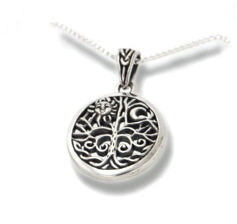 Sterling Silver Celtic Tree of Life Art Symbol with Sun and Moon Pendant with 18