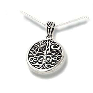 celtic tree of life art symbol with sun and moon sterling silver pendant
