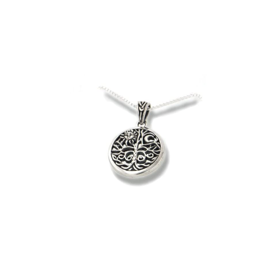 Celtic Tree of Life Art Symbol with Sun and Moon Sterling Silver Pendant with 18 Necklace