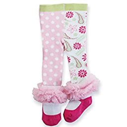 Mud Pie PINK TIGHTS Dots & Flowers 0-6 Months, Footed