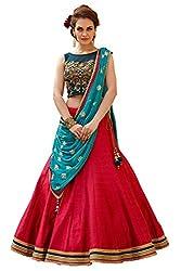KMOZI Womens Silk Lehenga Choli (KZL101-03_Red and Blue _Free Size)
