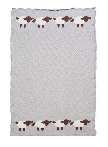 "Elegant Baby 100% Cotton Tightly Knit Blanket, Lattice Lambie/Gray, 30"" x 40"""