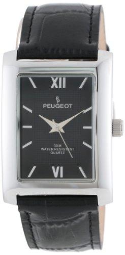 Peugeot Hommes 2033BK ton argent bracelet en cuir noir et de montres cadran noir