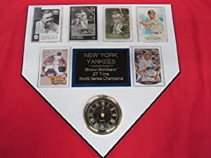 New York Yankees 27 Time World Champions 6 Card Collector HOME PLATE Clock Plaque... by J & C Baseball Clubhouse