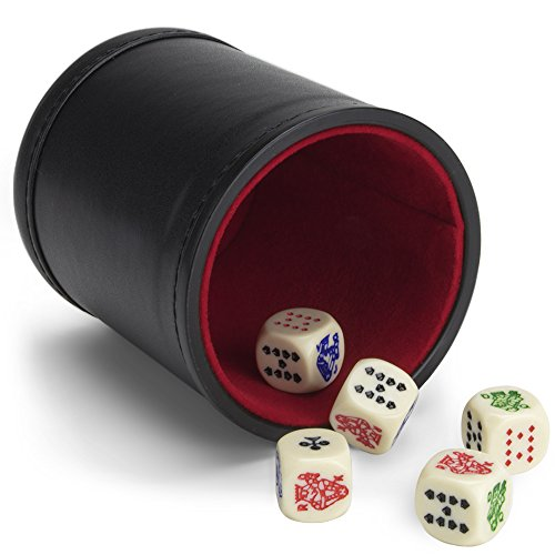 Set of 5 Poker Dice with Professional Leather Dice Cup, Great for Travel by Brybelly