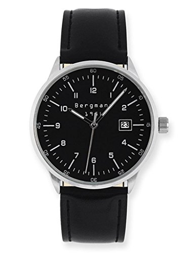 Bergmann Men'S Vintage Watch Classic Black Leather Black Dial Quartz Calendar Brand Mens Wristwatch 1956