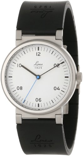 Laco 1925 Unisex Automatic Watch with White Dial Analogue Display and Black Rubber Strap 880103