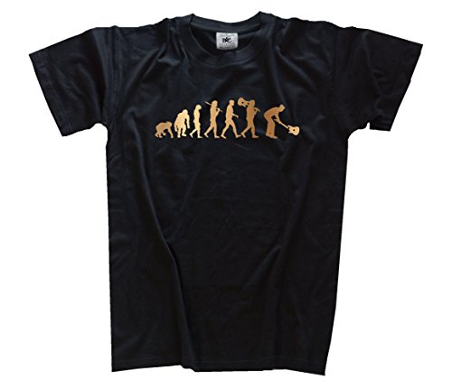 Shirtzshop-Maglietta Evoluzione, edizione bronzo Rock N Roll Guitarist Chitarra, Unisex, T-shirt Bronze Edition Rock n Roll Guitarist Evolution Gitarre, nero, L