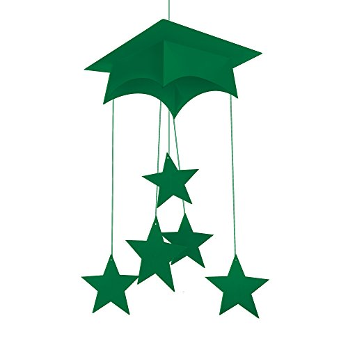 "Creative Converting Mortarboard Hanging Mobile Party Decoration, 24"", Emerald Green"