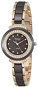 Armitron Women's 75/5038BNRG Rose Gold-Tone Watch with Brown Ceramic Link Bracelet