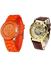COSMIC COMBO WATCH- ORANGE COLORFUL STRAP ANALOG WATCH FOR WOMEN AND BROWN ANALOG SKELETON WATCH FOR MEN