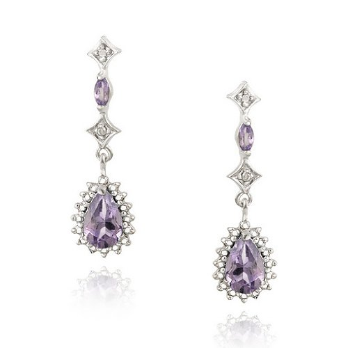 Sterling Silver Amethyst Diamond Accent Teardrop Earrings
