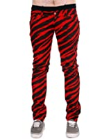Mens Drainpipe Jeans Red Zebra Punk Rock Glam Indie Retro Vintage 28 30 32 34 36