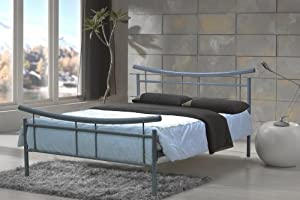 4ft6 Double Metal Bed Silver Frame Model Frisco Bed from Bedzonline LTD