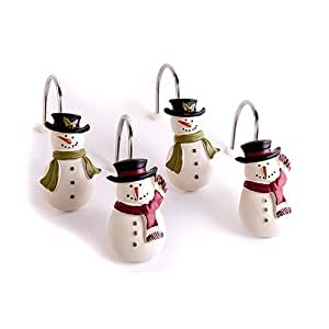 Snowman Tree Farm Shower Curtain Hooks Set Of 12 Home Kitchen