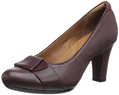 Clarks Women's Society Disc Pump,Burgundy Leather,7.5 W US