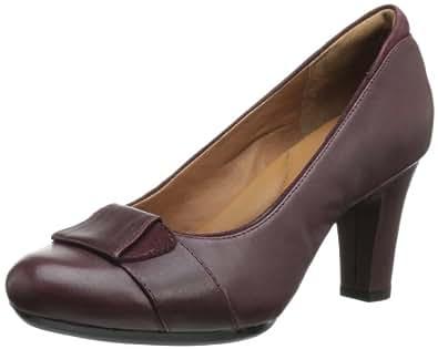 Clarks Women's Society Disc Pump,Burgundy Leather,7.5 W US
