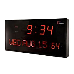 DBTech Big Oversized Digital Red LED Calendar Clock with Day Date and Temperature (16 / Red LED)