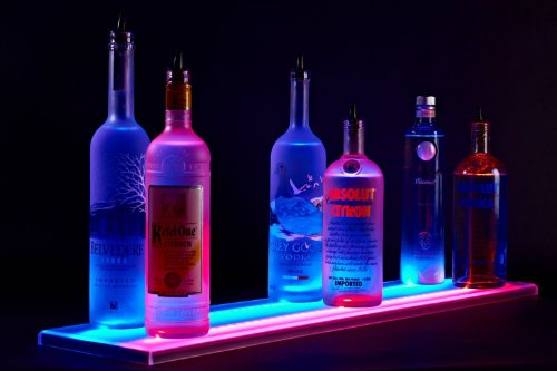 "31"" Double Wide Liquor Shelves Led Lighted Bar Shelves,Led Liquor Bottle Shelf,2Ft 7Inches Long Display"