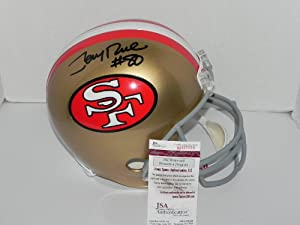 San Francisco 49ers Jerry Rice autographed Full Size F S Helmet-JSA COA by JJ Cards N Toys