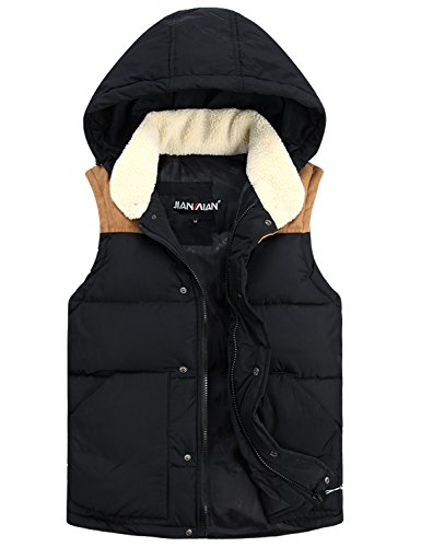 Only Faith Men's Slim Detachable Hooded Quilted Vest Fashion Cotton Padded Waistcoat (3XL(190/104A), Black) (Quilted Waistcoat compare prices)